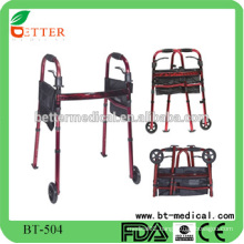 New folding aluminum walker with sleigh